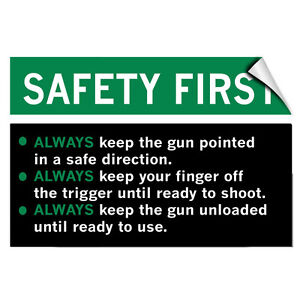 Safety First! Gun Safety Rules! Security LABEL DECAL STICKER