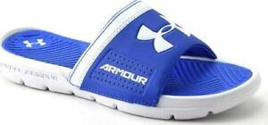 Boy's Youth UNDER ARMOUR PLAYMAKER VI Blue Slides Slip On Sandals Water Shoes