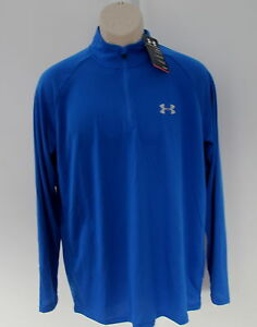 NWT $45 UNDER ARMOUR UA running shirt LOOSE fit HEAT GEAR blue cool dry mens M