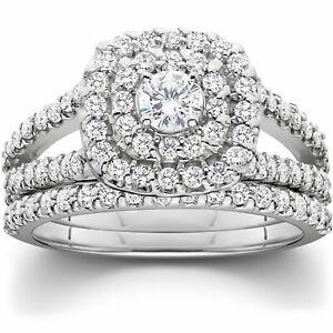 1 110ct Cushion Halo Diamond Engagement Wedding Ring Set White Gold Woven