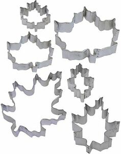 6 Piece Autumn Fall Maple & Oak Leaf Cookie Cutter Set