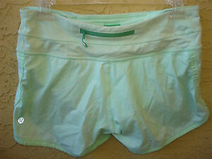 Lululemon Speed Shorts Lime Green POLKA DOTS  Zip Pocket Yoga Run Womens 4