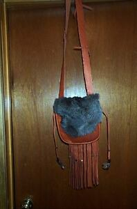 BLACK POWDER SHOOTER'S HAND MADE  LEATHER POSSIBLE BAG FUR FLAP