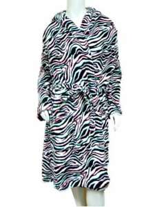 Joe Boxer Womens Hoodie Black & White Zebra Print Bath Robe Short Housecoat