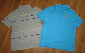 Lot 2 Boy's UNDER ARMOUR Match Play Cotton Loose Polo Golf Shirts size YLG Large