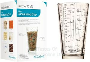 Kitchen Craft Glass Measuring Cup - ml, Grams, Cups, Shots, fl oz, Tablespoon