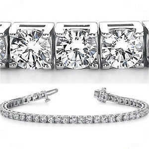 9.80 ct Round Diamond Tennis Bracelet 18k White Gold G VSSI1 49 x .20 ct 8 inch