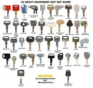 42 Keys Heavy Equipment Construction Ignition Key Set Case Cat Komatsu Deere JCB