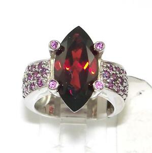 Sterling Silver Garnet Cocktail Ring Size 6.5