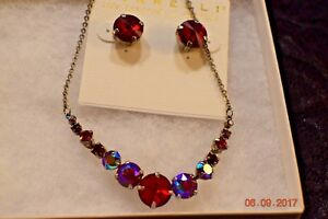 SORRELLI RED AURORA SWAROVSKI CRYSTAL NECKLACE AND PIERCED EARRING SET lot 478
