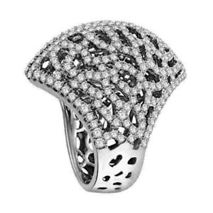 Pave Diamond Engagement Wedding Ring 18K Solid White Gold Party Wear Jewelry