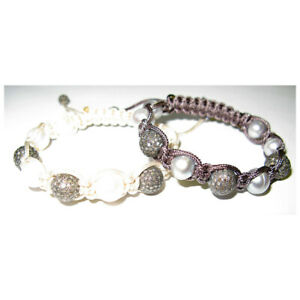 925 Silver Natural Diamond Pave Gemstone Beads Macrame Bracelet For Women