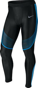 Nike Power Speed Men's Running Tights SZ MED Black Blue 717750-018 $150