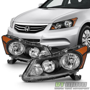For Black 2008 2012 Honda Accord 4 Door Sedan Headlights Headlamps LeftRight