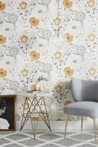 York Wallcoverings Spontaneity Floral Metallic Gold Black Silver Cream Wallpaper