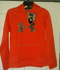 Under Armour Boys Storm Caliber Mossy Oak Camo Orange Hoodie Youth Large