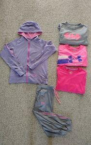 Under Armour Pink GIRLS 5 Pc Clothes Lot Size Youth XL SHIRTSCAPRIHOODIE