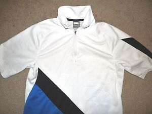 NIKE FIT DRY YOUTH BOYS TENNIS POLO SHIRT SMALL WHITE BLUE BLACK POLYESTER USED