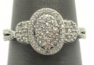 Sterling Silver 925 Cubic Zirconia Cluster Oval Elegant Engagement Cocktail Ring