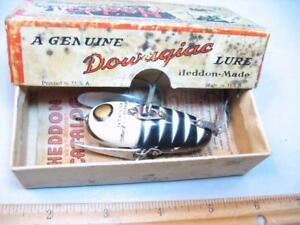 Heddon Crazy Crawler Old wood fishing lure 2pc hsrdware + an awful box
