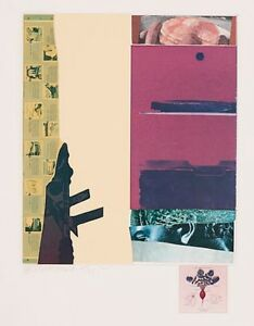 ROBERT RAUSCHENBERG Signed 1972 Original Color Lithograph & Collage $2,800.00
