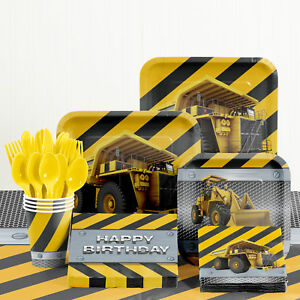 New Birthday Zone Construction Birthday Party Supplies Kit for 8 Guest