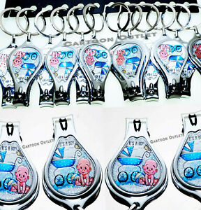12 BABY SHOWER BOY FAVORS KEYCHAIN NAIL CLIPPER PRIZE BLUE RECUERDOS NINO REGALO