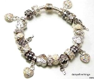 AUTHENTIC PANDORA BRACELET WITH CHARMS  LOVE HEARTS  BLING  CHOICE OF PACKAGING