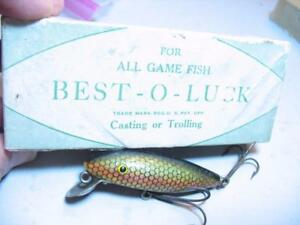 EARLY Best O Luck box + old wood fishing lure