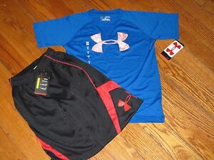 NWT UNDER ARMOUR YOUTH BOYS SM  Big Logo SS SHIRT & BASKETBALL SHORTS