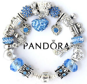 Authentic Pandora Bracelet Silver Mom Wife Blue European Charms Gift
