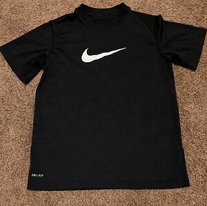 Nike Youth Boys Black Swoosh Dry Fit Shirt Size Small Perfect Preowned Condition
