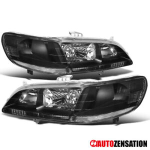 For Honda 1998 2002 Accord 2 4Dr Black Headlights Lamps Replacement LR 99 00 01