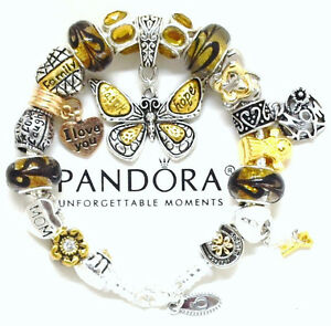 Authentic Pandora Sterling Silver Bracelet Mom Topaz Butterfly European Charms