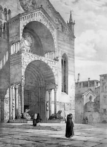 ITALY Verona Cathedral Western Portal - SUPERB 1843 Antique Print