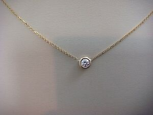 0.17 CT. DIAMONDS BY THE YARD SINGLE BEZEL 14 K. YELLOW GOLD NECKLACE 18 INCHES