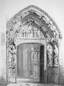 SPAIN Portal of  Burgos Cathedral- SUPERB 1843 Lithograph Print