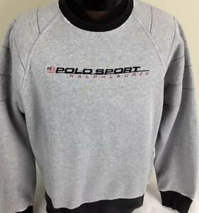 Vintage Polo Ralph Lauren SPORT Sweatshirt Crew Spell Out FLAG Stadium P-Wing M