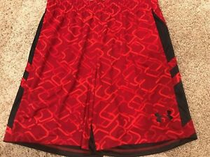 NWT Under Armour Mens Cross Court Basketball Shorts  Sz XL 1294479 Red Black