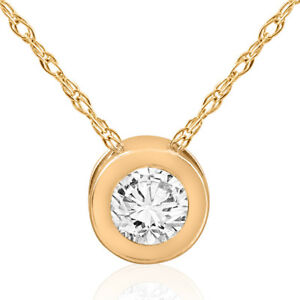 12 ct Solitaire Bezel Diamond Pendant 14k Yellow Gold Womens Necklace Jewelry