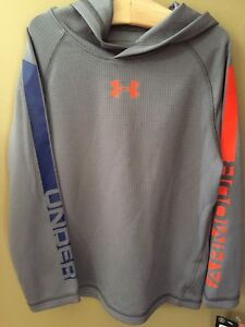 Boys 4 4T Under Armour Hooded Thermal Gray Shirt NEW NWT $32 Orange Blue