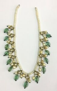 Vintage antique Handmade 18k Gold jewelry Basra Pearl Emerald Necklace Pendant