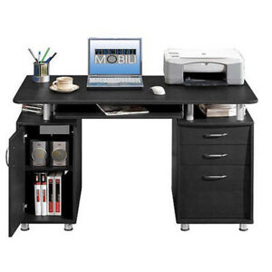 Home Office Computer Desk Laptop PC Study Table With 3 Drawers Black Furniture