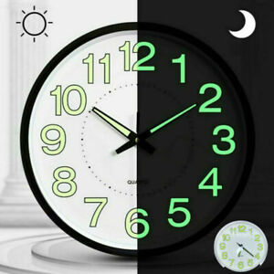12 Inch Luminous Glow Wall Clock Silent Dark Quartz Classic Bedroom Night Clocks