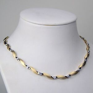 Diamond Twist Swirl Link Choker Necklace 14 kt Yellow & White Gold 16