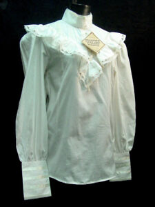 Victorian Vintage Ivory Cotton Blouse Clara Frontier S-3XL free brooch inc