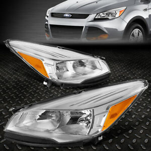 FOR 13 16 FORD ESCAPE CHROME HOUSING AMBER CORNER HEADLIGHT REPLACEMENT HEADLAMP $144.88