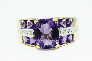 $1500 6.31CT NATURAL PURPLE AMETHYST & DIAMOND COCKTAIL RING 14K YELLOW GOLD