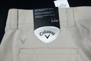 NWT CALLAWAY GOLF SHORTS MENS 34 KHAKI TECH CARGO STRETCH PERFORMANCE FLAT WICKS