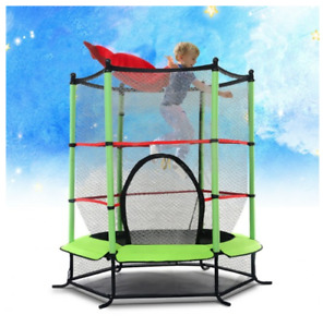 Green Kids Round Jumping Trampoline & Enclosure Combo Bounce Bouncy House Padded